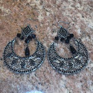 Large Silver & Black Fashion Earrings
